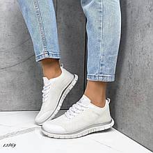 Женские кроссовки текстильные белые