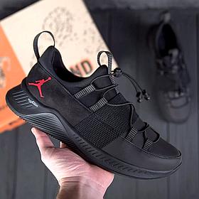Мужские кожаные черные кроссовки Jordan