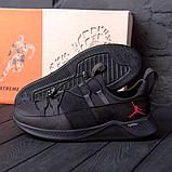 Чоловічі шкіряні чорні кросівки Jordan, фото 2