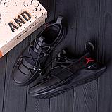 Чоловічі шкіряні чорні кросівки Jordan, фото 4