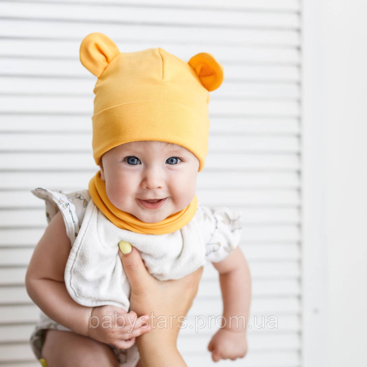 """Набор шапка с манишкой """"Bruin"""", горчичная"""