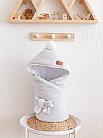 Велюровый конверт-одеяло, на трикотаже, серый меланж