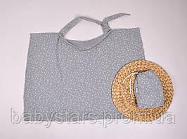 Муслиновая накидка для годування з сумочкою-чохлом, сіра з плюсиками