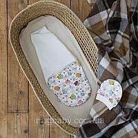 Євро пелюшка на липучках з шапочкою Half, кекс 0-3 міс.