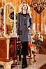 Платье прямое свободного кроя, с накладными карманами и вставками из тисненной эко-кожи, 42-48 размер