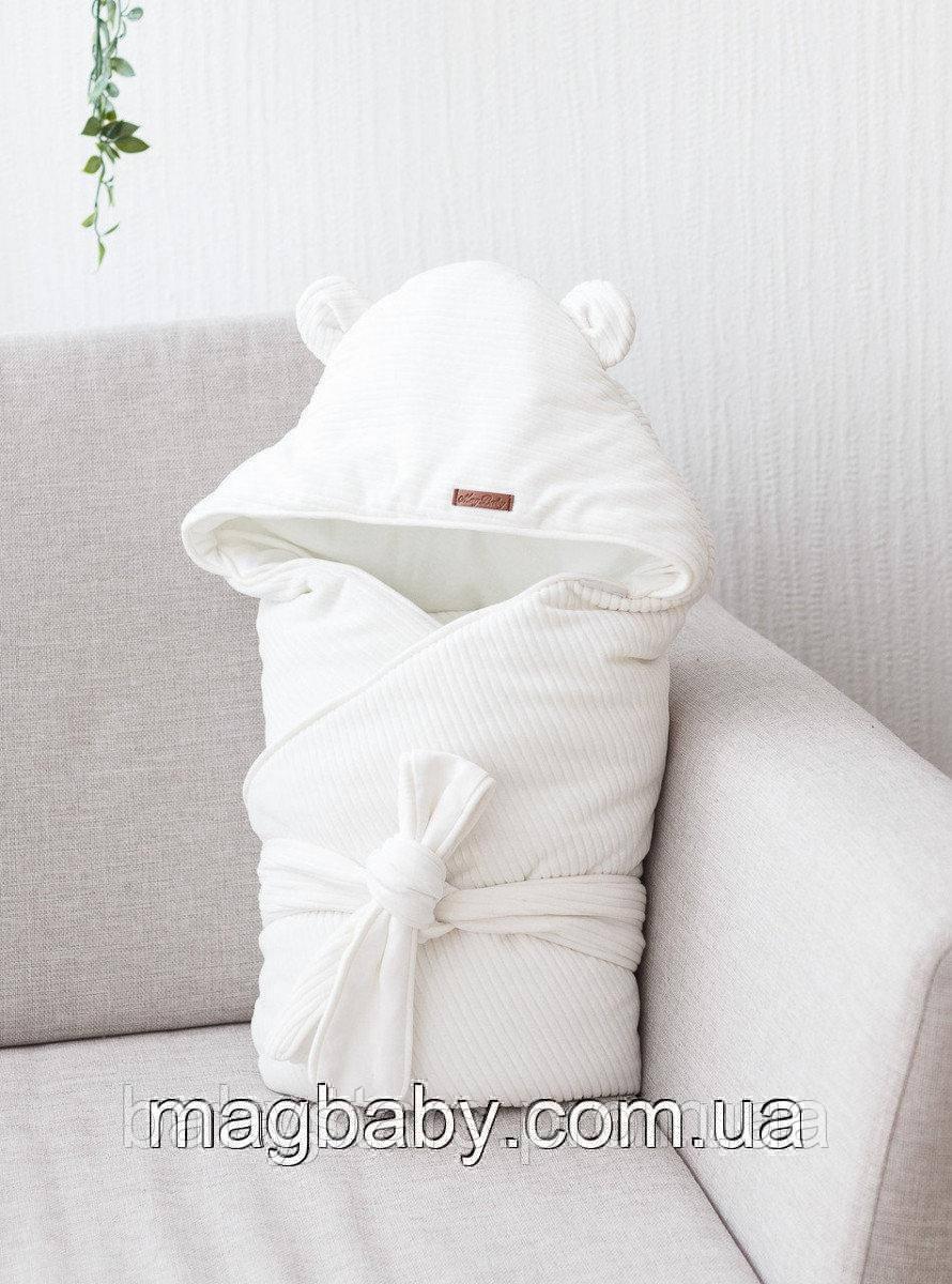 Демисезонный велюровый конверт-одеяло Velvet, молочный