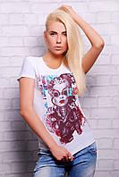Футболка женская белая с принтом Стим панк Футболка-2В