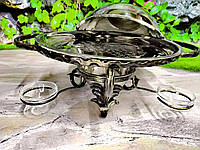 Кований садж для подачі шашлику «Класик-36см», з посиленою основою і посудом - оригінальний подарунок чоловікові