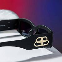 Узкие солнцезащитные очки женские брендовые Баленсиага Balenciaga черные овальные 2021 г. логотип