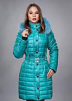 Красивая бирюзовая курточка с капюшоном на меху