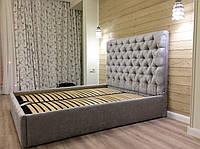 Двуспальная Кровать Nice 160*200 с подъемным механизмом и мягким высоким изголовьем честер с утяжка