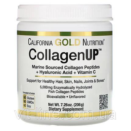 Коллаген морской рыбий с гиалуроновой кислотой и витамином С California Gold Nutrition 206грамм, фото 2