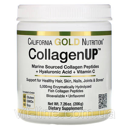 Морський колаген California Gold Nutrition Collagen UP 5000 205гр, фото 2
