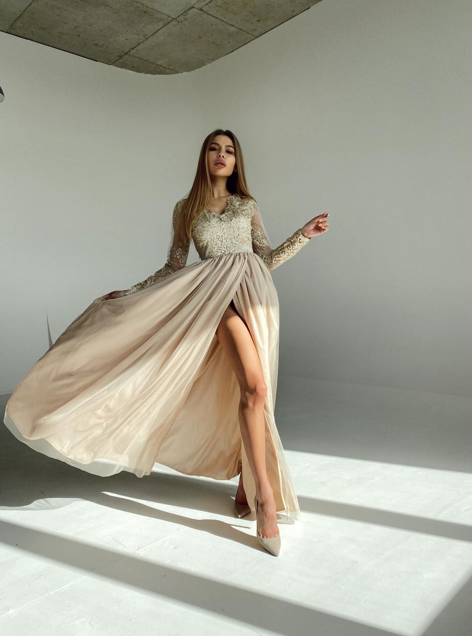 Сукня вечірня з мереживним верхом BRQ2724