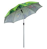 Зонт от солнца пляжный купол 2 м. Большой зонт зеленый, попугаи. Усиленный складной зонт для пляжа, дачи