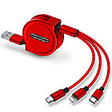 120 см 3 в 1 заряд USB-кабель iPhone & Micro USB & USB C кабель розсувний портативний зарядки кабель, фото 7