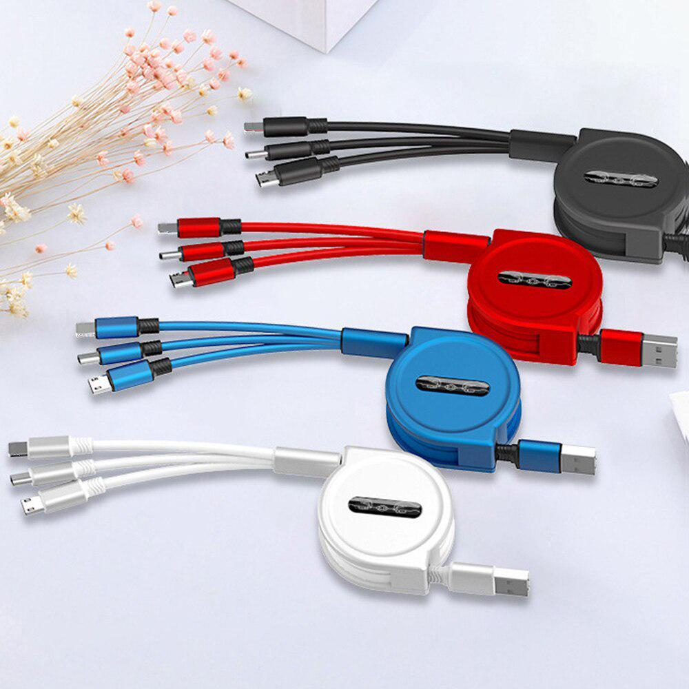 120 см 3 в 1 заряд USB-кабель iPhone & Micro USB & USB C кабель розсувний портативний зарядки кабель