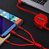 120 см 3 в 1 заряд USB-кабель iPhone & Micro USB & USB C кабель розсувний портативний зарядки кабель, фото 9