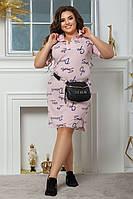 Легкое женское платье-рубашка в больших размерах
