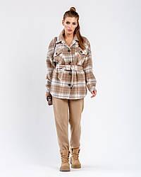Пальто-рубашка женское демисезонное шерстяное в клетку 1364К | 40, 42, 44, 46, 48 размеры