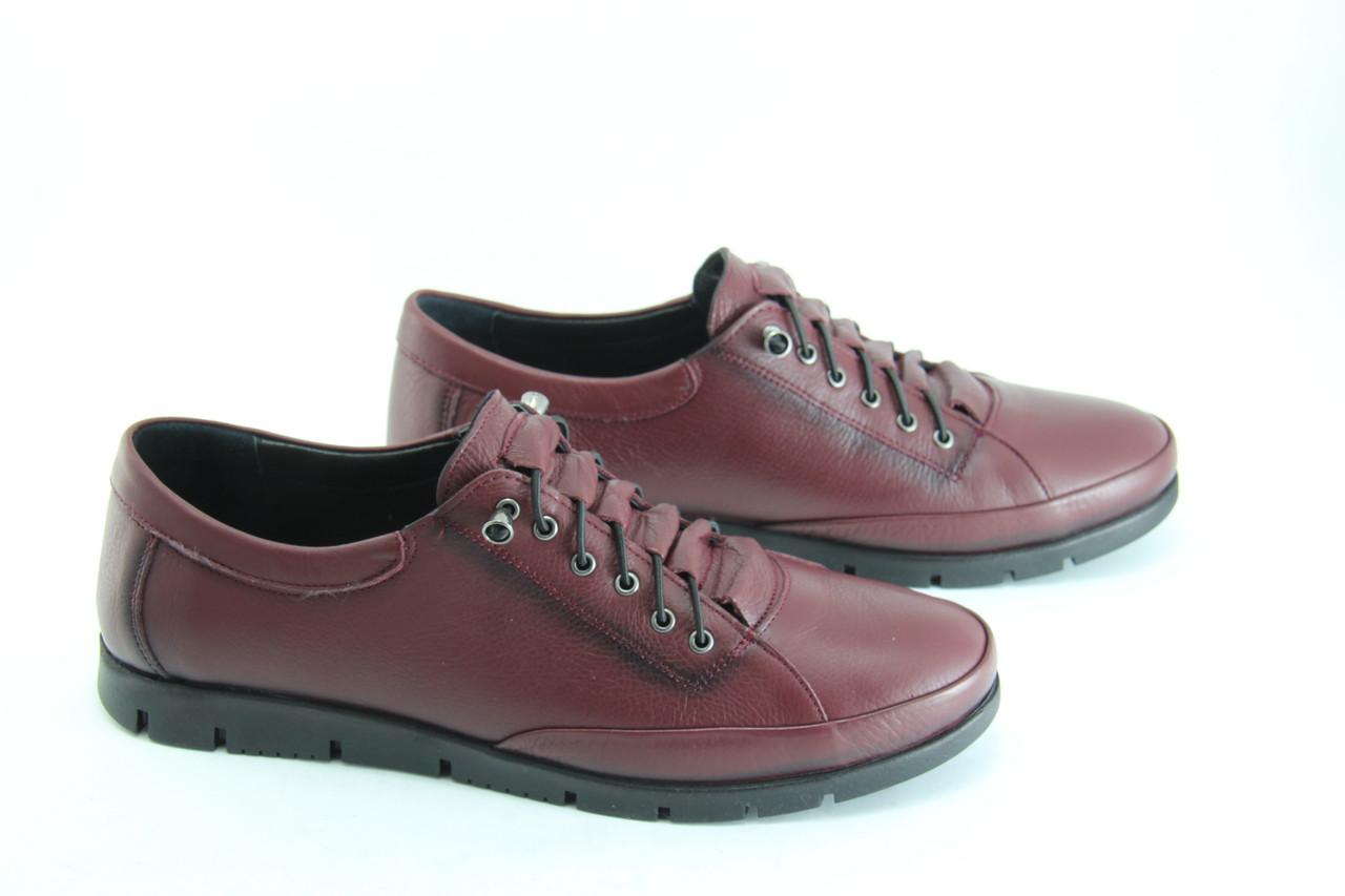 Туфли женские кожаные баталы 39-42  Erpass 808-BORDO(B)