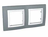 Рамка 2-местная  Unica Basic (серый техно/белый) MGU2.004.858