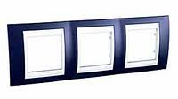 Рамка 3-местная горизонтальная (Индиго/Белый, Unica Plus) MGU6.006.842