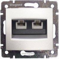 Комп'ютерна розетка 2xRJ45 кат.5Е UTP на захопленнях Valena (алюміній) 770231