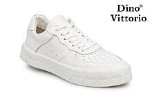 Белые женские кеды натуральная кожа с перфорацией Dino Vittorio