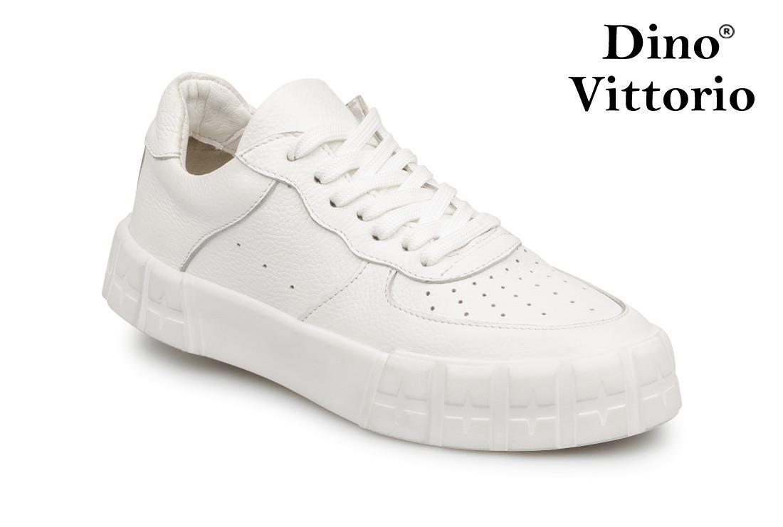 Жіночі білі кросівки на платформі натуральна шкіра Dino Vittorio