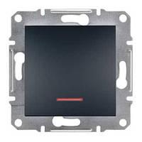 Прохідний вимикач 1-клавшный з підсвічуванням Asfora Антрацит EPH1500171