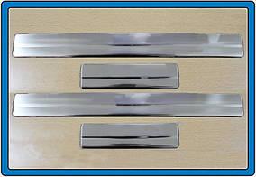 Ford Focus II 2005-2008 гг. Накладки на пороги (OmsaLine, 4 шт, нерж.)