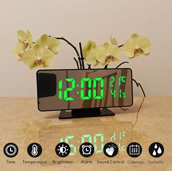Настільні електронні настінні годинники led mirror clock VST 888 з зеленою підсвіткою Чорний