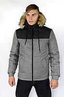 """Куртка чоловіча зимова сіра-чорна """"Аляска"""" + подарунок Рукавички, фото 1"""