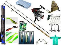 Универсальный набор спиннингиста, набор для рыбалки для начинающих, спиннинг в сборе на хищника!