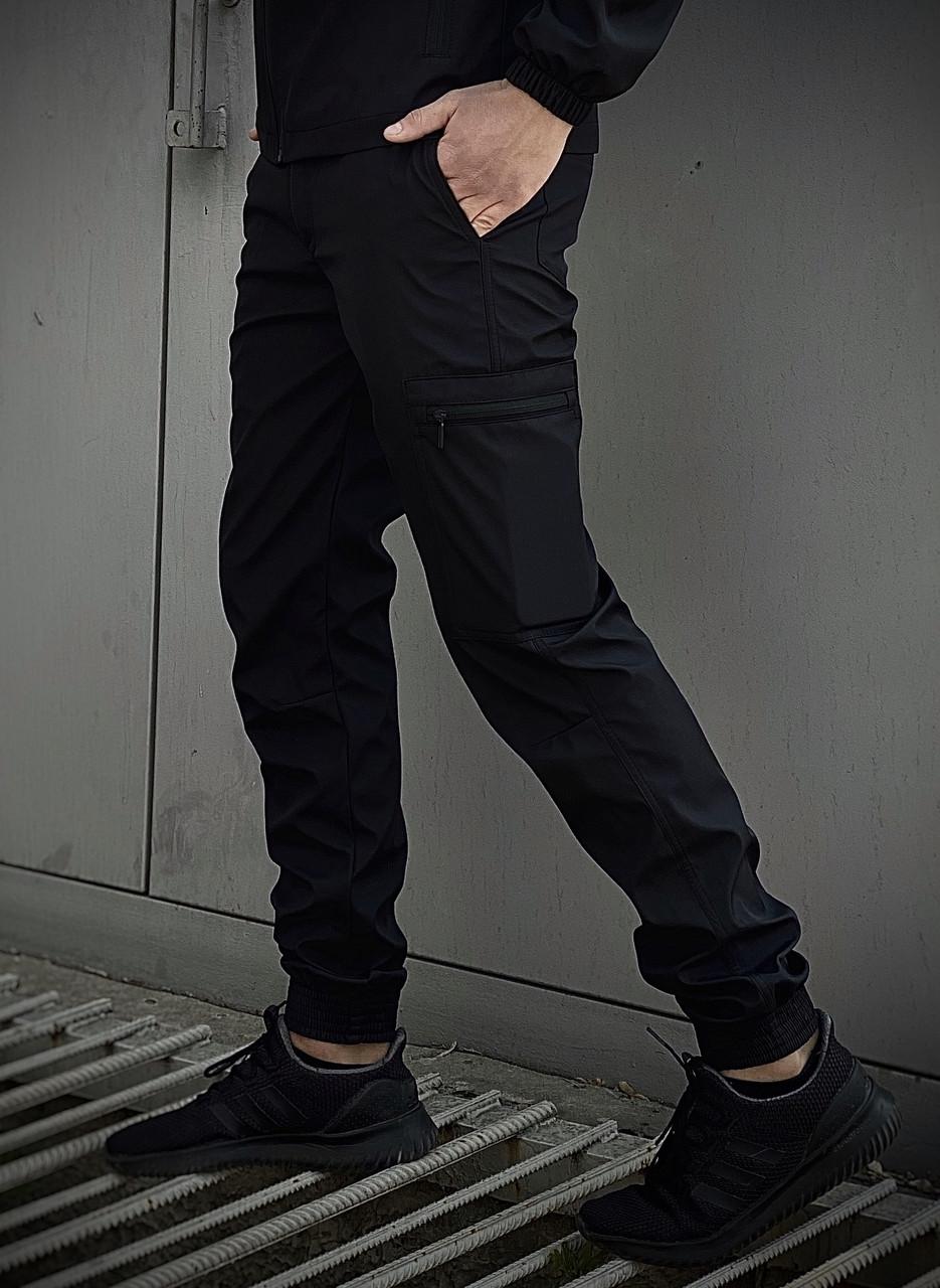 Стильні чоловічі штани чорного кольору. Штани чоловічі базові чорні.