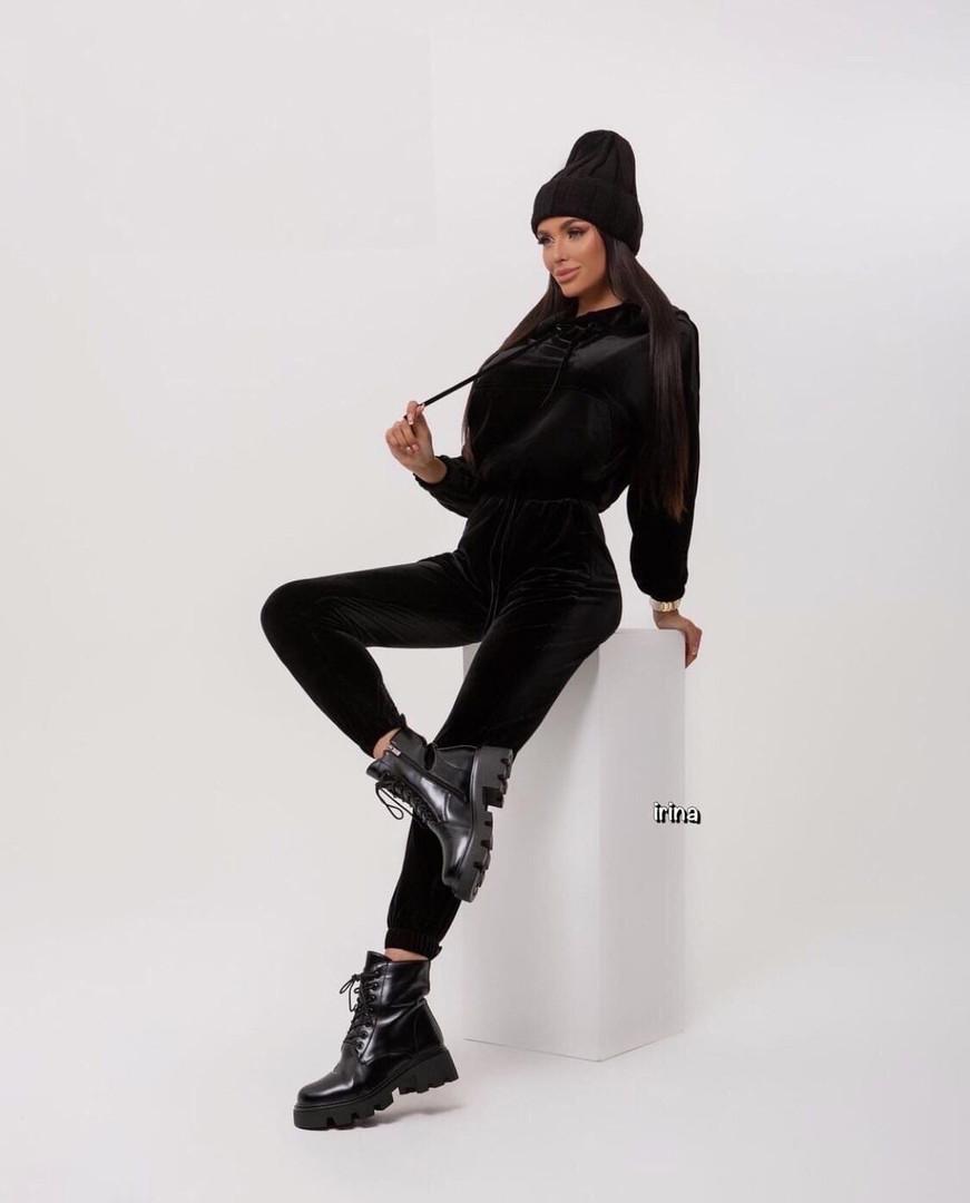 Женский спортивный костюм, турецкий велюр, р-р С-М; М-Л (чёрный)