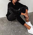 Жіночий спортивний костюм, турецький велюр, р-р С-М; М-Л (чорний), фото 3