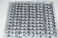 Крабик для волос мини Белые цветы черный металл