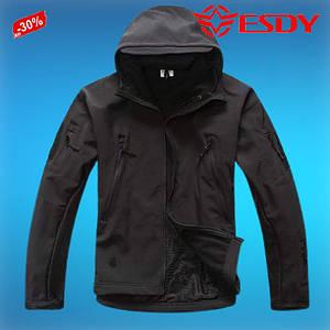 Тактическая Куртка Soft Shell ESDY S- 4XL Черный водоотталкивающая