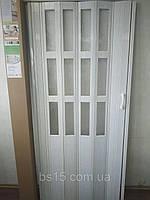 Дверь гармошка раздвижная полуостекленная №9 Дуб Беленый 860х2030х12мм