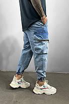Чоловічі джинси-карго блакитні на манжетах, фото 2