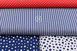 """Клапоть тканини """"Подвійний міні зигзаг синього кольору на білому, колекція Mini-mikro, №2222а, розмір 30*80 см, фото 2"""