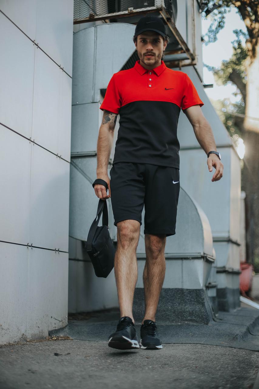Костюм Футболка Поло чорна-червона+Шорти+Кепка Чорна. Барсетка у подарунок!Nike