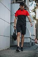 Костюм Футболка Поло чорна-червона+Шорти+Кепка Чорна. Барсетка у подарунок!Nike, фото 1