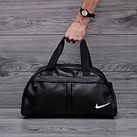 Спортивная сумка NIKE Черная кожзам | Фитнес-сумка Найк для тренировок мужская / женская