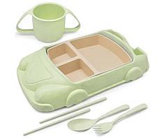 Набор детской эко посуды Stenson R87744, 6 предметов, зеленый