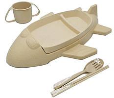 Набор детской эко посуды Stenson R87745, 6 предметов, бежевый