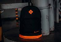 Рюкзак городской мужской | женский, для ноутбука черный-оранжевый спортивный, фото 1