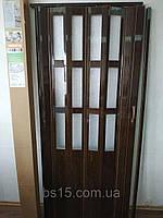 Дверь гармошка полуостекленная 860х2030х12мм Орех №8